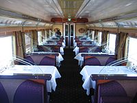 Speisewagen 1. Klasse in The Ghan, Great Southern Railway, Australien